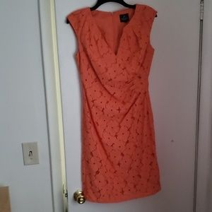 Adrianna Papell Lace Coral Cocktail Dress